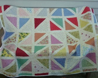 Triangles in Squares quilt,handmade quilt,throw quilt ,quilt top, bed accessory,modern quilt,scrappy quilt