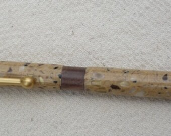 Handmade Corian ink Pen with brown and gold Flakes and Satin Gold hardware, Handcrafted, recycled Corian, reclaimed Corian, custom made, 15
