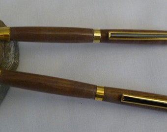 Hand made Walnut Pen and Pencil set, with Gold hardware, custom made ink pen, recycled wood, reclaimed wood, unique ink pen, turned pen, 56