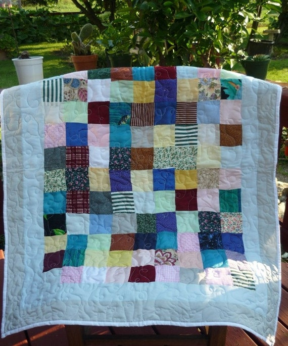 Nine Patch quilt Blue, nursery bedding,crib bedding,crib blanket, handmade quilt, unique gifts, baby bedding