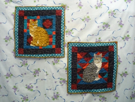 Wall Hanging, two Cats,door hanger,cat lover,handmade items,wall hanger,fabric door hanger unique gifts,cotton fabric