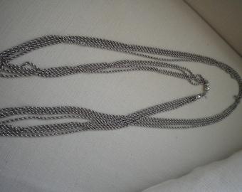 Vintage Silver Opera Length MONET Quadruple Spiral Chain Necklace