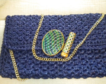 Vintage Blueberry Synthetic Husk Gold Chain Envelope Purse with AVON Compact and Lipstick