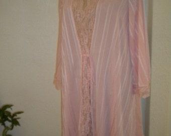 Peachy Wide Lace Trim LANVIN Vintage Silky Short Robe - M/L