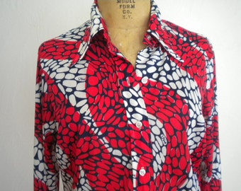 Red White and Blue Tile Inlay Design VERA Vintage Nylon Blouse - 14