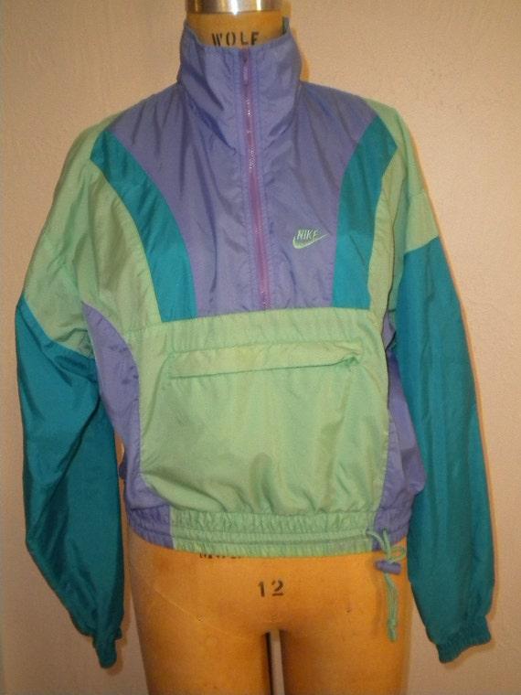 Perfect for Running 1980's NIKE Windbreaker in Aqua, Seafoam and Purple Size Small
