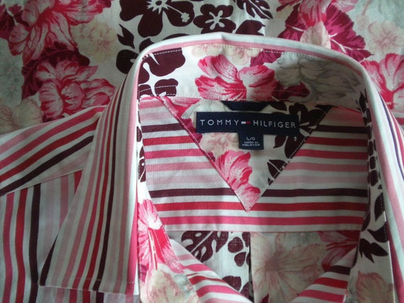 Reserved for Dim...Cranberry to Pink Stripe Hawaiian Flower TOMMY HILFIGER Vintage Shirt - L