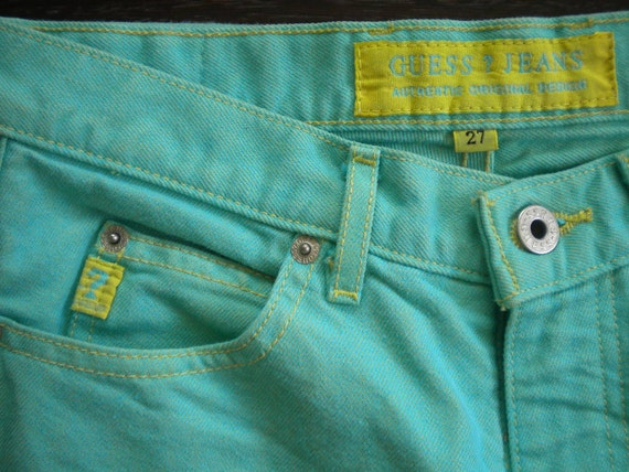 Yellow Topstitched Turquoise Vintage GUESS Jeans S/M