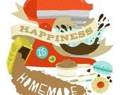 Art Print - Happiness is Homemade