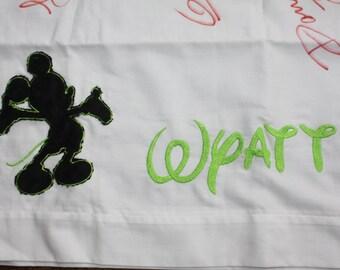 Monogrammed Disney autograph pillowcase