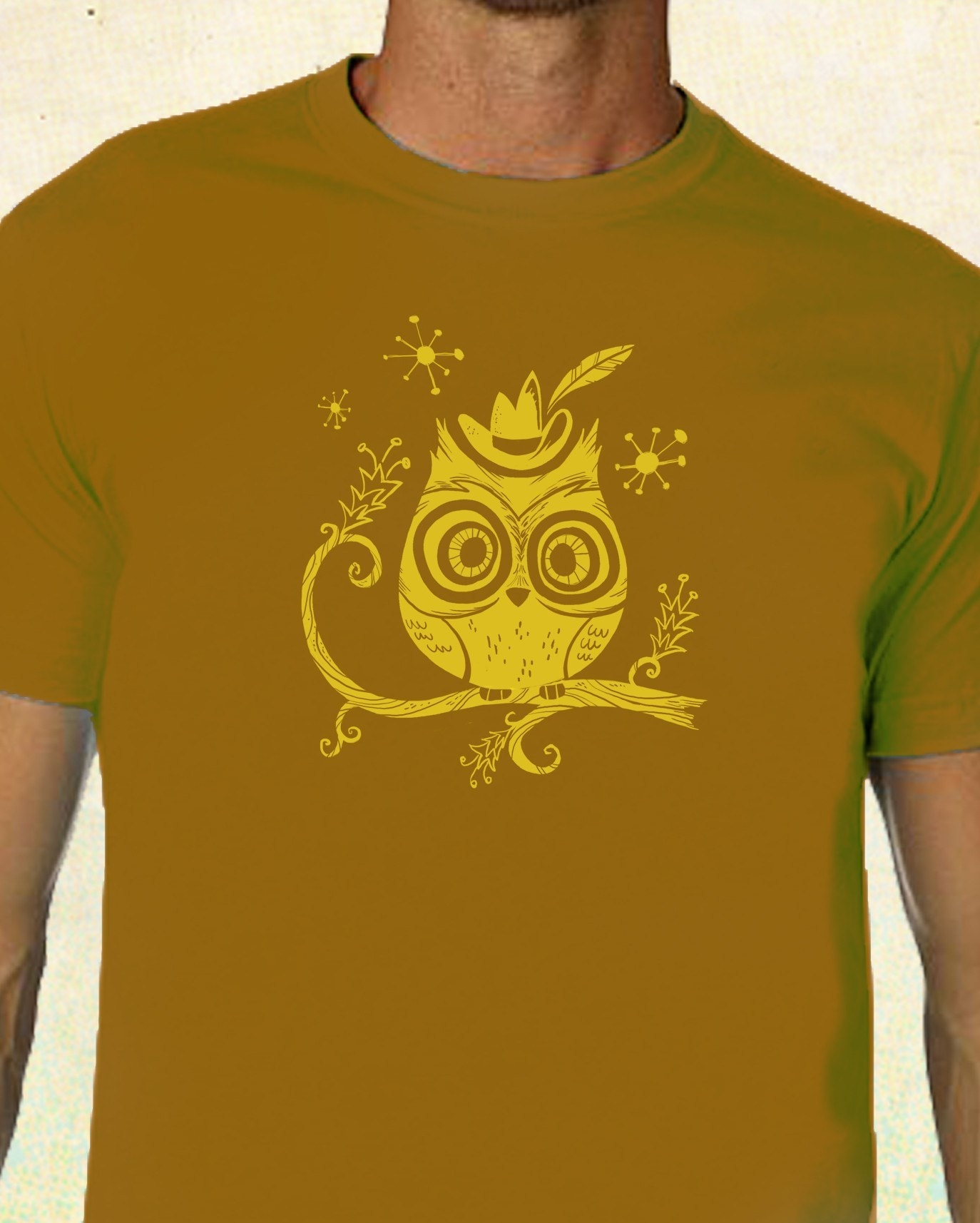 HOOT OWL IN A FEDORA Retro Men's Graphic T-Shirt AMERICAN