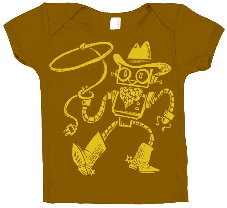Retro Robot Cowboy Baby Lap T-Shirt Hand Dyed Brown and
