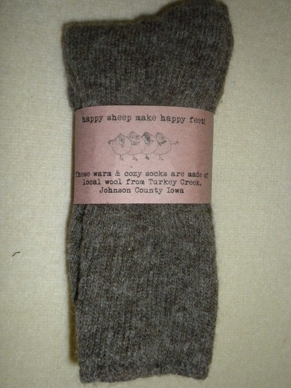 mens'  XL socks knitted from our Turkey Creek wool yarn with nylon added for durability.