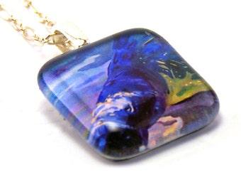 Manatee Rest Art Glass Pendant Necklace