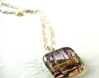 River and Palms Fine Art Glass Pendant Necklace