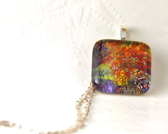 Ocean Seaweed Original Art Glass Pendant Necklace