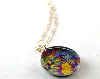 Ocean Reflections Round Glass Pendant Fine Art Necklace