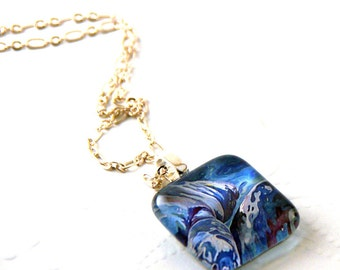 Manatee Dance Fine Art Glass Pendant Necklace