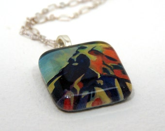 Mountain Scene Glass Pendant Necklace-Behind Picacho Peak