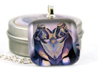 Sea Turtle Skull Glass Pendant Necklace
