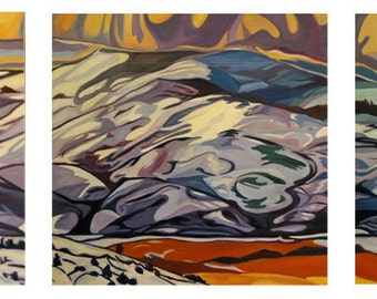 Sierra Madre Tryptch Fine Art Painting Wyoming