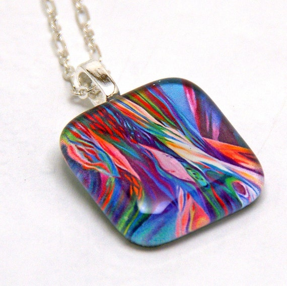 Magical Colorful Oak Roots Glass Pendant Necklace