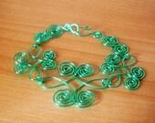 Seafoam Green Wire Celtic Butterfly Bracelet