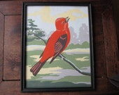 1960's red bird paint by numbers