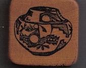 Detailed Vintage Rubber Stamp Southwestern Adobe Pottery For Scrapbooking