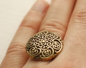 Filigree Button antique gold button ring Adjustable