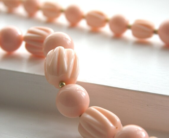 vintage long plastic PINK necklace
