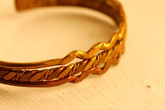 Copper and Brass twisted vintage Cuff Bracelet