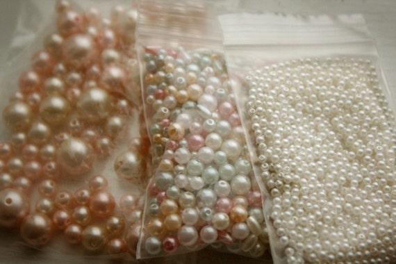 Plastic Pearl Beads Destash lot ..cream.. pink.. green.. small..