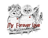MY HEART My Forever Love  -  Owl Mates - Free Ship to USA