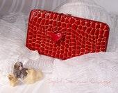 My Heart Wallet Clutch Red Alligator Lizard Pattern