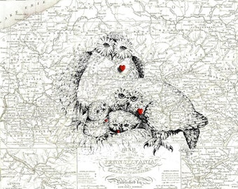 Love and Devotion ,Owl Family , 1837 Map of Pennsylvania , Print Pen and Ink Original Art Sketch