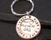 Our Hearts Belong to Dad - Copper Keyring