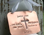 Baptism Copper Keepsake Ornament with stamped enameled heart cross