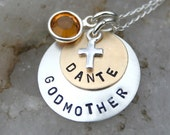 Godmother/Godchild Necklace with Birthstone and Cross - CharmsofFaith
