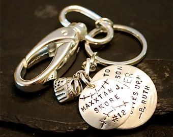 Baseball Player/Coach Sterling Silver Keychain