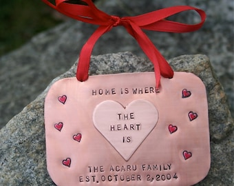 Family - Home Is Where The Heart Is Hand-Stamped Copper Ornament