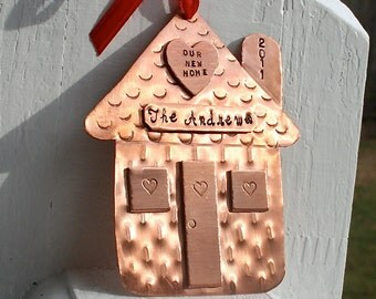 Our New Home - Hand Forged and Hand Stamped Copper Ornament