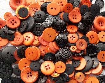 50 Orange and Black Button Mix ,  Halloween Buttons, Sewing, Crafting Buttons, Jewelry Collect (561)
