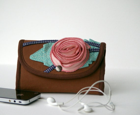 Phone wallet   - type  2 -  flower in pink and turquoise