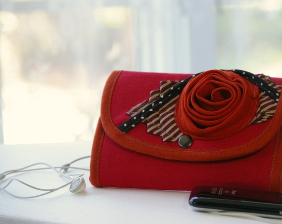 Phone wallet   - type  2 - in cherry red