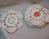 6 ivory handmade flower doilies