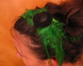 green and black feather - spring crown