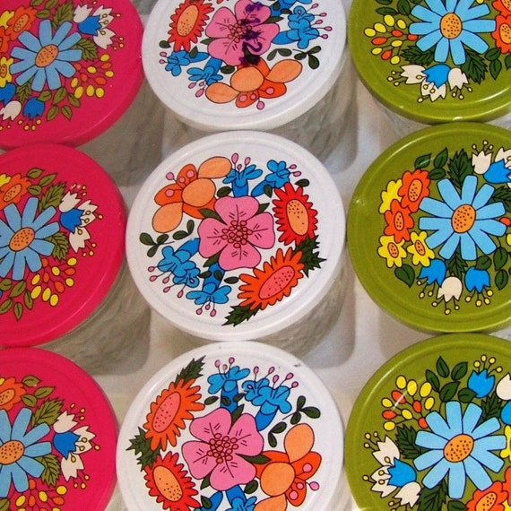 ON RESERVE....NIP Vintage Floral Jelly Jars