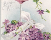 Purple Best Wishes Vintage Post Card Early 1900s
