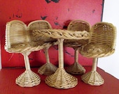 Wicker Doll Table and Chairs  Great for Barbie Fashion Dolls and Friends